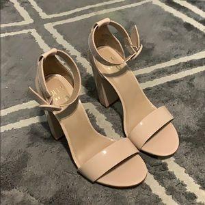 Nude cream patent block sandal heels